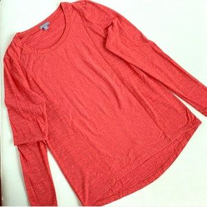 LILLA P Long Sleeve Red Salmon Thick Cotton Top